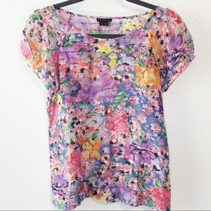 Theory cotton and silk blouse floral size S
